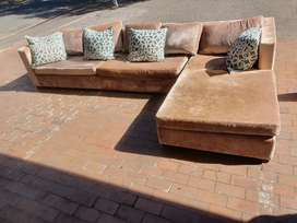 CORDUROY 6 SEATER LOUNGE SUITE + CUSHIONS