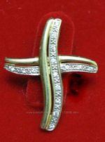 Подвеска Крест , золото 585, бриллианты