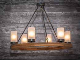 Rustykalna lampa żyrandol oświetlenie koło drewno 70