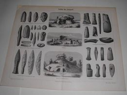 ARCHEOLOGIA - Narzędzia prehistoryczne oryginalne XIX w. grafiki