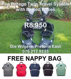 Second Hand Peg Perego Twin with Belted Bases - FREE Nappy Bag