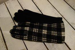 nowe! damskie rękawiczki biało-czarna krateczka miękka wełenka