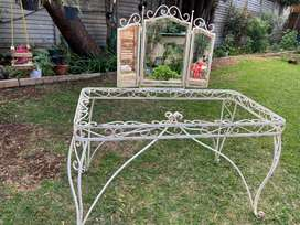 Wrought Iron Dressing Table with Mirrors