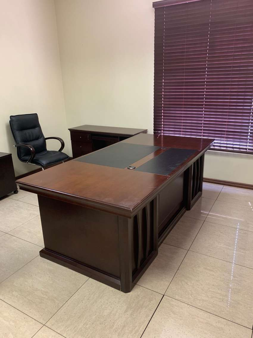 Large dark wood executive desk and side piece 0