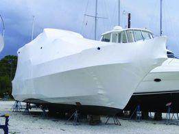 Упаковка яхт и катеров на зиму в термоусадочную пленку Dr.Shrink.