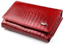 Женский кожаный кошелек ST лаковый складной 100% натуральная кожа