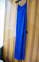 Ультрамариновое платье в пол, на выпускной
