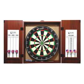 DARTBOARD WITH CASE AND SCOREBOARDS , 6 DARTS, CHALK ,Games 501,301,70