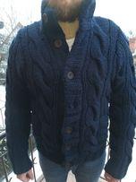 Gruby sweter męski Abercrombie Fitch wełniany guziki granat roz M