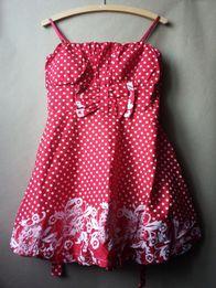 Sukienka czerwona włoska w białe kwiaty groszki wiązana z kokardą