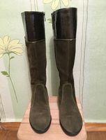 Розкішні замшево-лакові чоботи (сапоги)