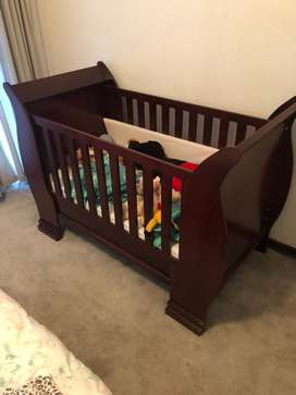 Wooden Sleigh Cot, Like New