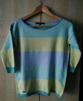 Reserved piękny kolorowy sweterek w paski z 3/4 rękawem 36/S