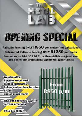 Palisade fencing special from R850 per meter