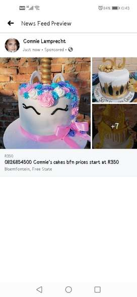 Connie's cakes bfn prices start at R350