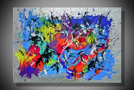 Abstrakcja obraz duży malowany 100x70 dziewczyna miłość akt prezent