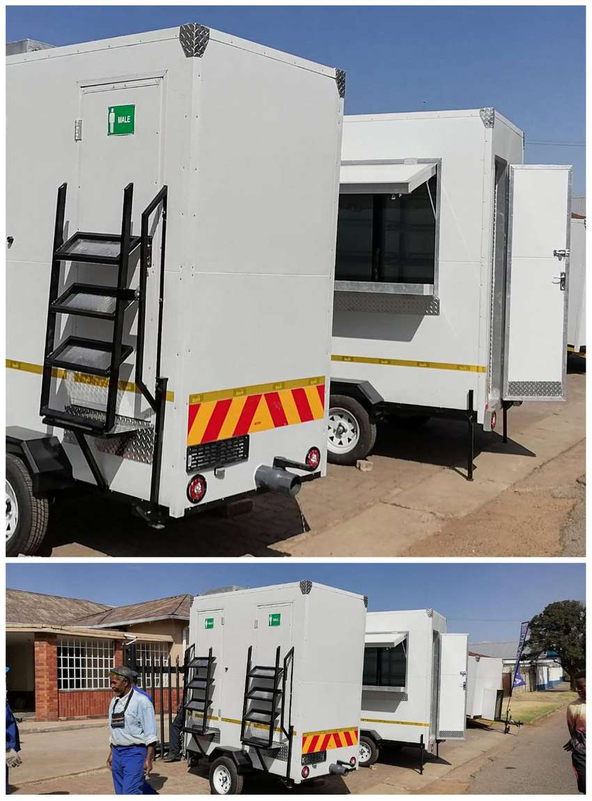 Mobile toilets for sale.