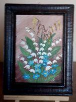 Obraz olejny w drewnianej ramce konwalie