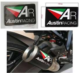 Austin Racing heat proof aluminium embossed exhaust badge decal
