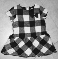 Sukienka w kratkę czarno- biała 80 cm Young dimension 9-12 miesięcy