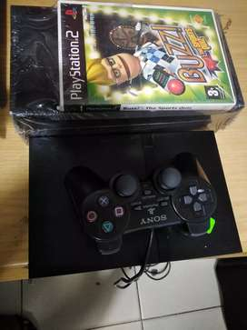 Get Ps2 console with buzz game and buzz controller