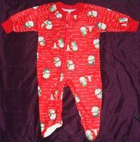 Pajac świąteczny w bałwanki,na zimę, ciepły, ABS r.74 Gerber