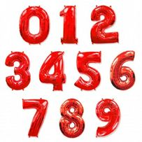 Шар фольгированный цифра серебро золото,синяя , красная 80 см