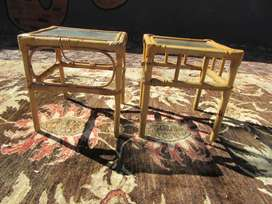 Pair of Mid-Century square Coffee tables with a glass top