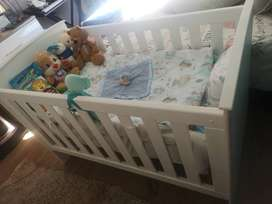 Baby Cot - Solid White Wood & Mattress