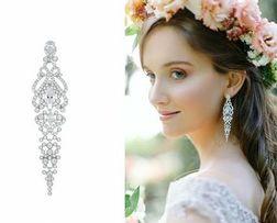 kolczyki ślubne la novia bianca wiszące długie diamenty cyrkonie hit