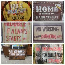 Assorted mancave signs R150 upwards