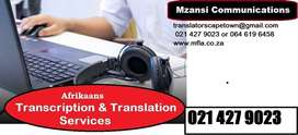 Afrikaans Transcription and Translation services Cape Town
