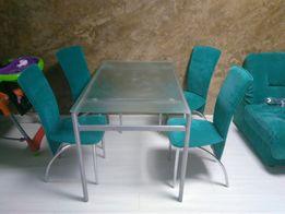 Стол кухонный, для гостинной, матовое стекло