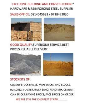 EXCLUSIVE BUILDING SAND,PLASTER SAND,RIVER SAND,STOCK BRICKS,HARDWARE