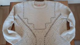 Sweter, kolor kremowy, rękaw 3/4, rozm. M/L