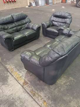 Leather Lounge Suite Black Genuine Leather