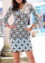 NEW sukienka BonPrix brązowa turkusowa koła ornamenty boho etno wiosna