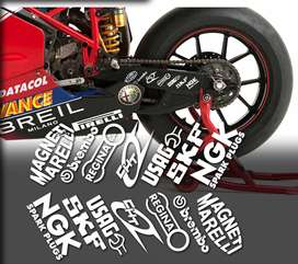 Swing arm sponsor decal set for a ducati