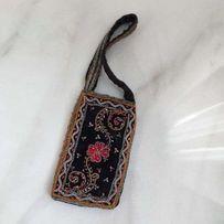 Черная сумочка ключница чехол с бисером