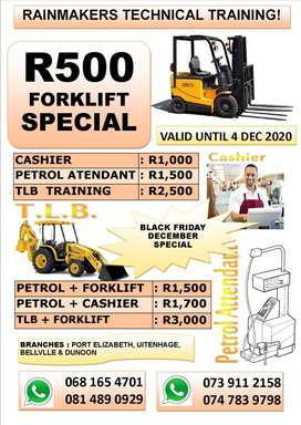 Forklift,Cashier and Petrol Attendant Trainings on special.