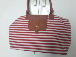 Jak nowa torebka w paski marynarska bialo czerwona brąz na ramię