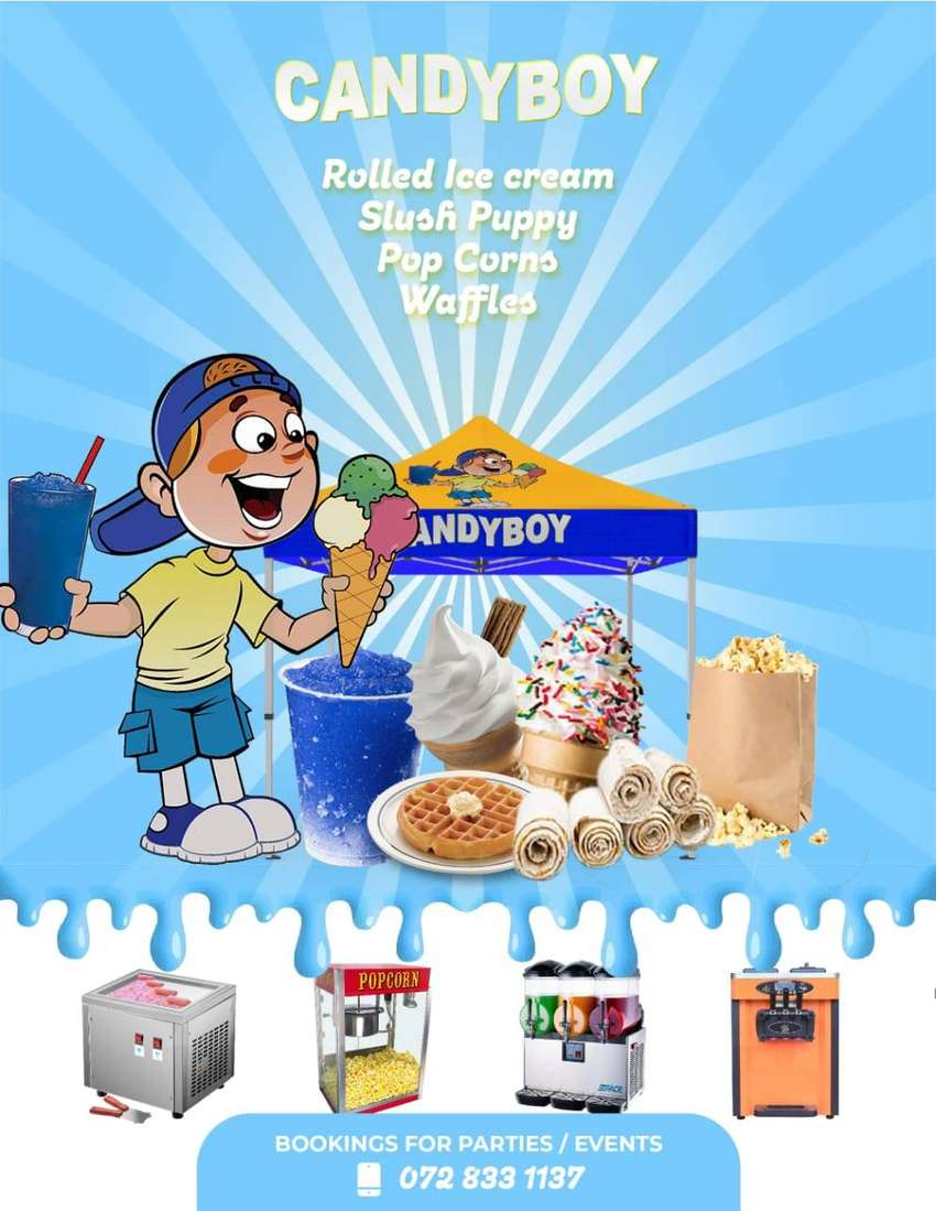 Rolled Ice Cream, Slush Puppy, Popcorns & Waffles for your Party/event