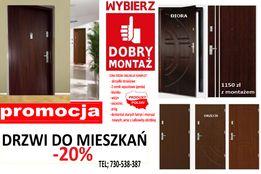 Drzwi zewnętrzne wejściowe do mieszkań z MONTAŻEM,Antywłamaniowe. blok