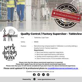 Quality Control / Factory Supervisor - Tableview