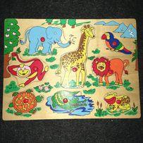 Drewniane puzzle / Układanka drewniana dla najmłodszych Zwierzątka