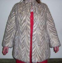 Норковая шуба, полушубок из кусочков ёлочка, серо-белая размер 48-50