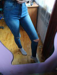 Śliczne, nowoczesne Spodnie dżinsy z rozcięciami , Hit sezozu