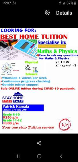 HOME TUITION/EXTRA CLASSES.MATHS AND PHYSICAL SCIENCES GRD 8 - 12