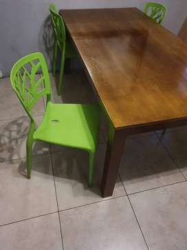 6 seater wooden dining room table with chairs