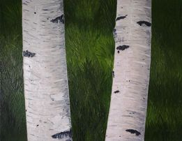 """Рельефная картина маслом """"Две березки"""", 2013"""